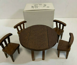 Wood-Drop-Leaf-Table-amp-Four-Chairs-Hello-Dolly-Doll-House-Furniture