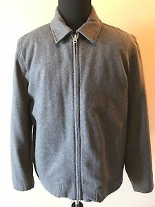 GAP-Charcoal-Gray-Wool-Blend-Zip-Mens-Jacket-size-XL-Quilted-Lining-NWT-CJ19