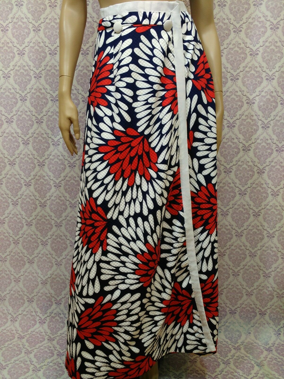 Vintage 60s Mod Maxi Skirt Womens S XS Wrap Style White bluee Red Print 25 Waist