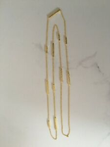 18K-Gold-on-925-Sterling-Silver-Long-Necklace-Bars-Textured-Hammered-90cm-Chain