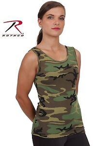 b2d4fc64de6f0 Image is loading Womens-Woodland-Camouflage-Stretch-Tank-Top-Rothco-Cotton-