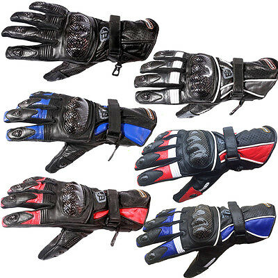 Akito BF Leather Motorcycle Tritex Gloves Black, Silver, Red or Blue RRP £49.99