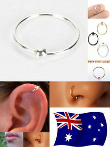 Solid-S925-Sterling-Silver-22g-Hoop-Ring-With-Fix-Ball-Nose-Ear-Lip-Nipple-1pc