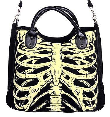 leuchten im dunklen Skelett Brustkorb Gothik Schulter Handtasche Horror EmO