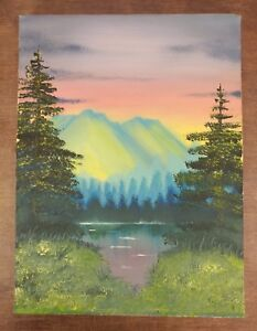 Bob Ross Style Original Oil Landscape Painting Mountains Pines On 12x16 Canvas Ebay