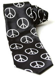 Trendy-Skinny-Tie-Black-with-White-Peace-Sign