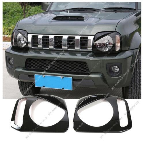 A Pair ABS Black Headlight Cover Trim For Suzuki JIMNY JB23//JB33//JB43//JB53 1998+