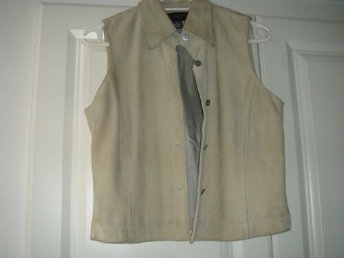 Anne Klein ll Petites Light Green Leather Suede Vest Waistcoat Size 2 Vintage