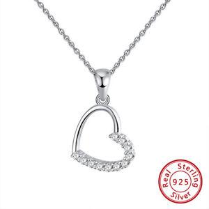 Halskette-925-Sterling-Silber-rhodiniert-Zirkonia-Kette-Stein-Anhaenger-Herz