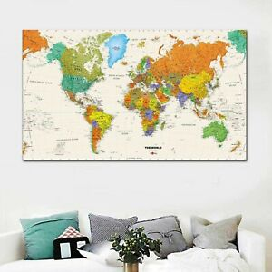 Details about World Map Push Pin Travel Map Wall Art Canvas Print Home and  Living Decoration