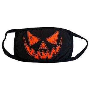 Kreepsville-666-Gothic-Horror-Black-Distressed-Pumpkin-Fabric-Reusable-Face-Mask