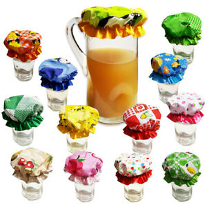 CUTE-HANDMADE-JAR-BOWL-GLASS-JAM-DECORATIVE-LIDS-COVERS-KITCHEN-PANTRY-STORAGE