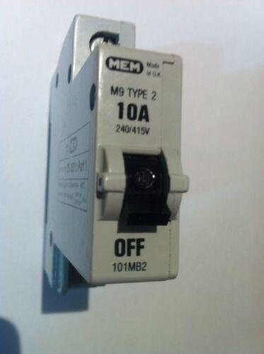 BILL M9 Type 2 10A 10Amp 101MB2 Single Pole MCB Circuit Breaker RARE MEM