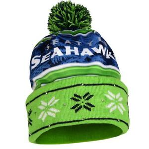 11e097771f6 NFL LED Light up Wordmark Printed Winter Christmas Beanie Forever  Collectibles Seattle Seahawks