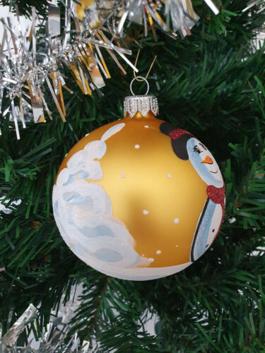 Details about  /6 Hand Painted Glass Baubles Christmas Tree Decorations 80 mm//8cm,high quality!
