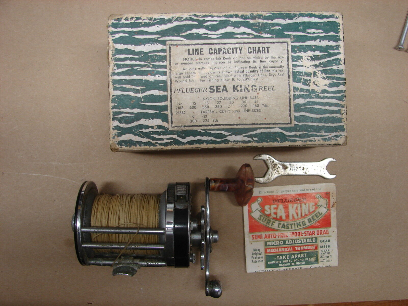 Vintage Pflueger Sea King Surf Casting Reel 2188 in Box with instructions wrench