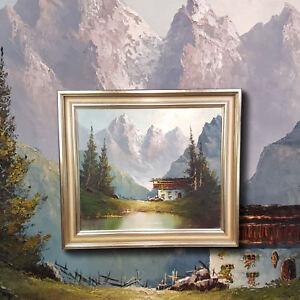 Alm-im-Kaisergebirge-Original-altes-Olgemaelde-alpine-Landschaft-sign-W-BECKER