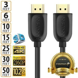 HDMI-1-4-4K-3D-HDTV-PC-Xbox-ONE-PS4-High-Speed-Cable-Plug-3-6-10-15-25-30-50-FT
