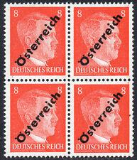 AUSTRIA 1945 3rd Reich Adolf Hitler 8Pf O/P Osterreich Fine MINT NH Block of 4