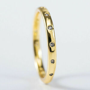 18K GOLD FILLED (STAMPED) DESIGNER STYLE SIMPLE RING/BAND + TINY TOPAZ SIZE L1/2