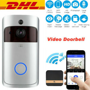 Tuerklingel-mit-Kamera-WiFi-Video-Funkklingel-Ring-Doorbell-HD-WLAN-Nachtsicht-IR