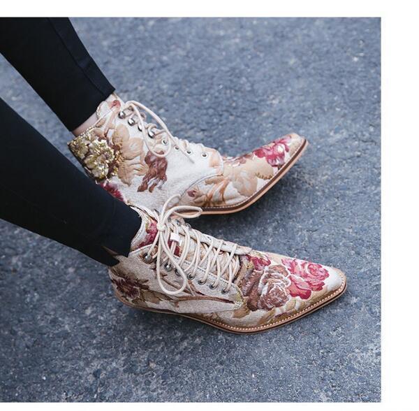 Para Mujeres con cordones Floral De Gamuza Moda botas botas botas al Tobillo Plus talla Bloque Tacones Zapatos Wi  Esperando por ti