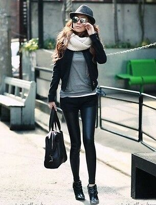 Leather Look High Waist Women Stretch Pencil Leggings Pants Glossy