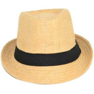 Cappello di paglia uomo con banda nera tinta unita naturale moda estiva tendenza