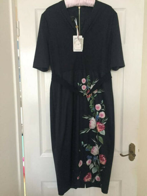 Ted Baker Navy Womens Norraa V neck bodycon midi dress size 5 UK size 16