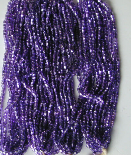 Antique Grape Purple Silver Lined Glass Seed Beads Mini Hanks RARE COLOR HUE!