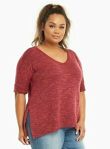8942df5832 NWT Torrid Plus Size 5 5X Red Marled Knit V-Neck Sweater  13-18