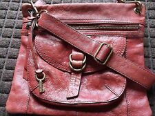 Fossil Sasha~ Genuine Leather~ Crossbody Shoulder Bag~Distressed Red~zb2986