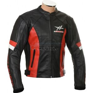 MV-AGUSTA-CORSE-Black-Red-Motorbike-Motorcycle-Armored-Real-Leather-Biker-Jacket