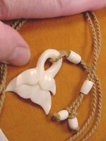 Jba-07-a) White Double Whale Tail Aceh Bovine Bone Pendant Necklace Watch Tails