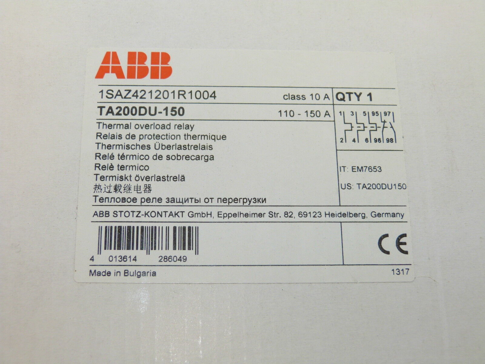 ABB TA200DU-150 Thermal Overload Relay 110-150a NEW 1yr Warranty