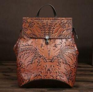 Chic-Women-039-s-Vintage-Brown-Genuine-Leather-Backpack-Travel-Bag-Embossed-Handbag