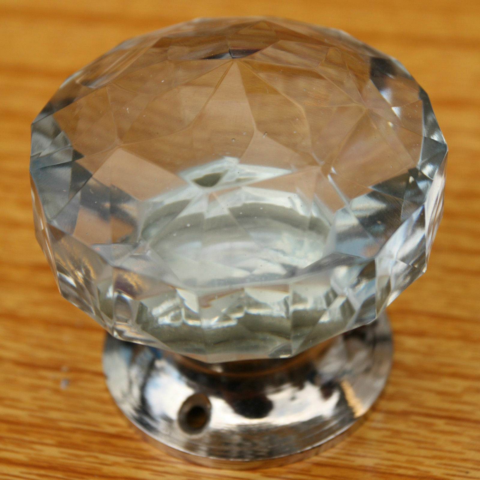 Glass door knobs, large crystal cut multifaceted Chrome base (pairs) Beautiful