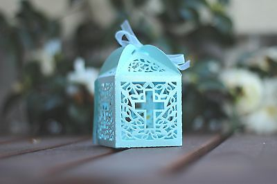 12pk Christening Cross Favour Box with Ribbon. Bomboniere Box/ Party Gift Box/