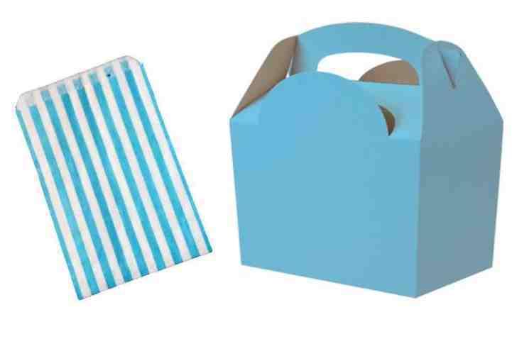 Bleu clair-Fête clair-Fête Bleu D'Anniversaire AliHommes ts Repas Déjeuner Boîtes & Free Candy Sweet Cake Bag f27bb0