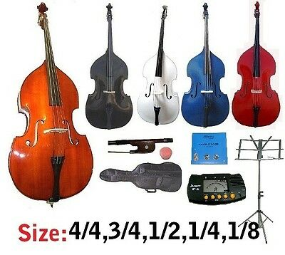 New Upright Double Bass,Bag,Bow+Rosin,Bridge,Strings,Tuner,Stand~Student,Band