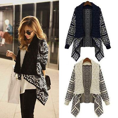 New Women Long Sleeve Knitted Cardigan Loose Sweater Outwear Jacket Coat Sweater