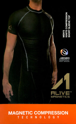 XL AL1VE MAGNETICS Men Ignite Compression Short Sleeve Shirt Top Black S M L