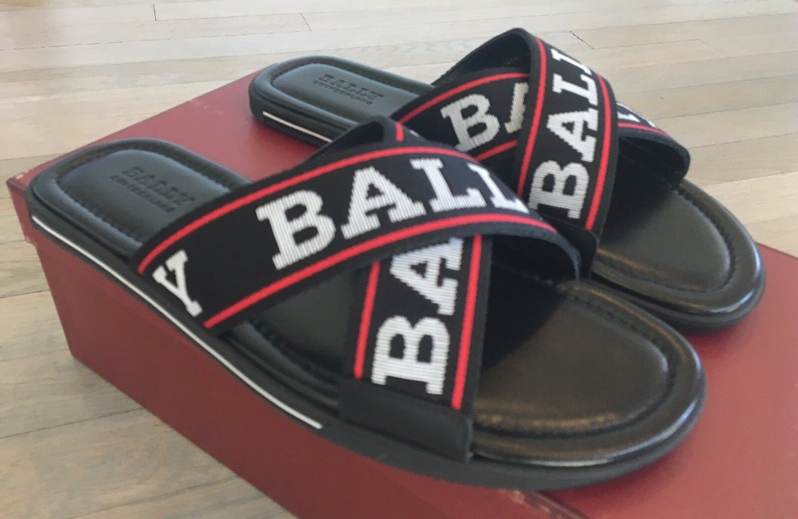 500  Bally Bonks Black Leather Sandals size US 10 Made in