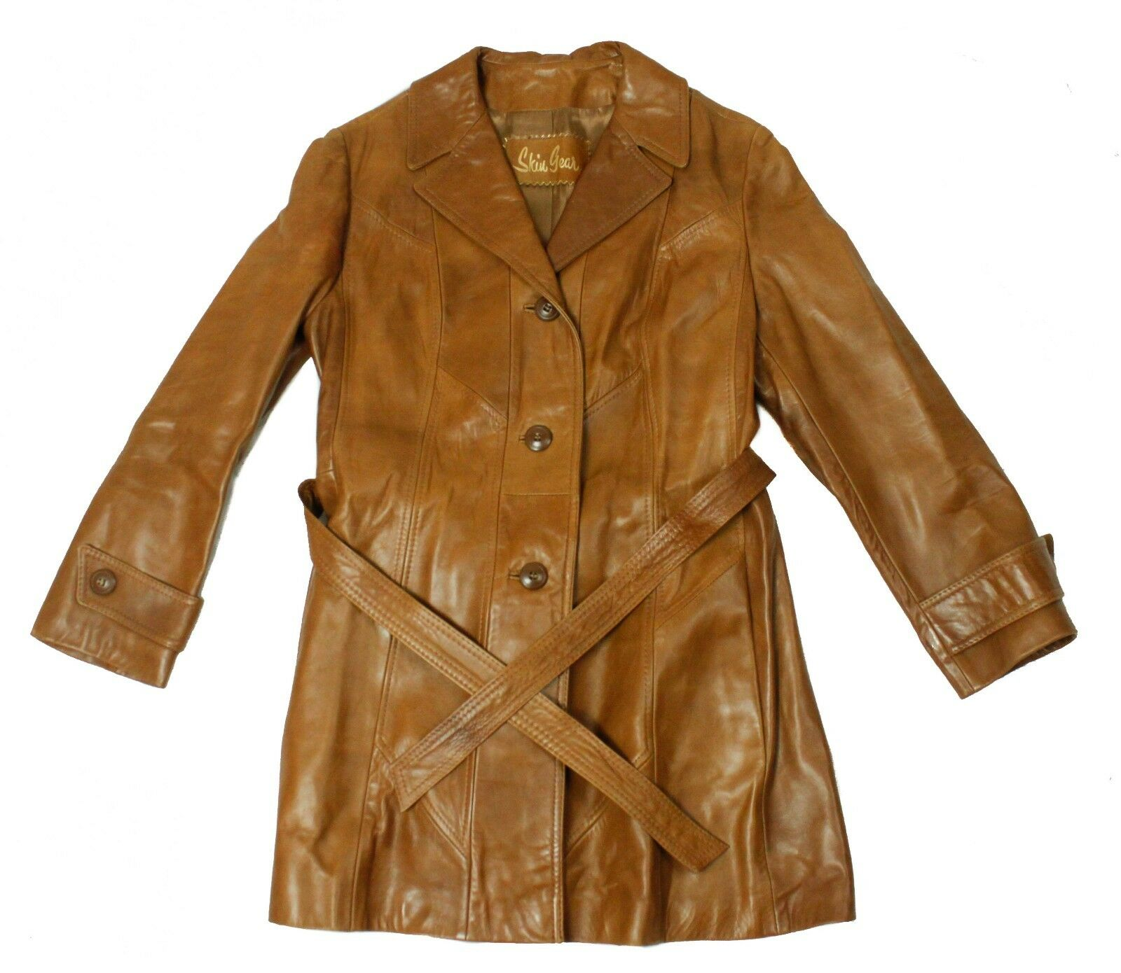 Vintage Skiu Gear Brown Leather Acetate Lining Womens Trench Coat With Belt