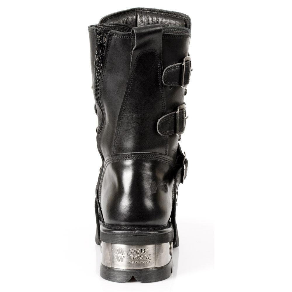 258976c47 New Rock newrock m.373-s1 Metallic Black Leather Leather Leather ...
