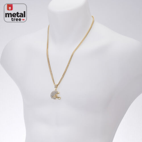 "Men/'s 14K Gold Football Helmet Pendant 24/"" Cuban Link Chain Necklace CPB 1049 G"