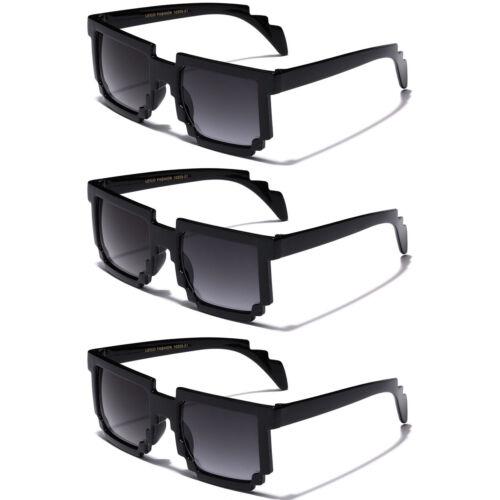 2-3 PACK KIDS 8-Bit Pixel Glasses Square Boys Girls Pixelated Novelty Sunglasses
