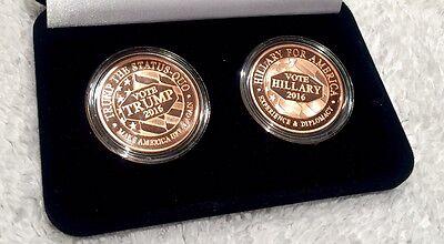 HILLARY CLINTON vs DONALD TRUMP ELECTION 2016 ONE OUNCE COPPER COIN .999 FINE