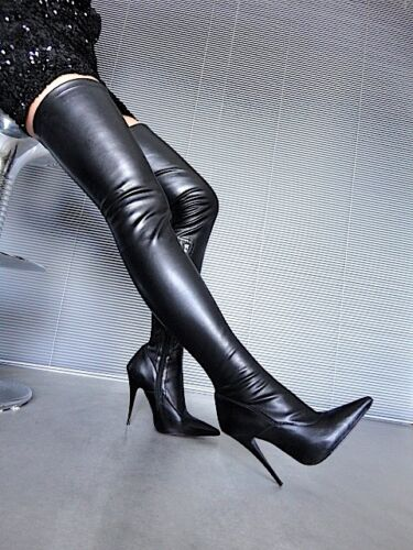 Leather Boots 37 Nero High Stretch Sexy Mori Stiefel Italy Heels Overknee Black BA1qw1