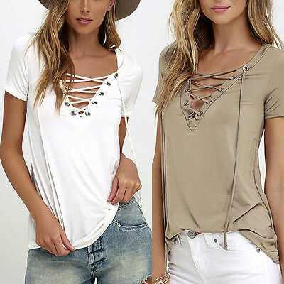 Fashion Womens Loose Pullover T Shirt Short Sleeve Cotton Tops Shirt Blouse US